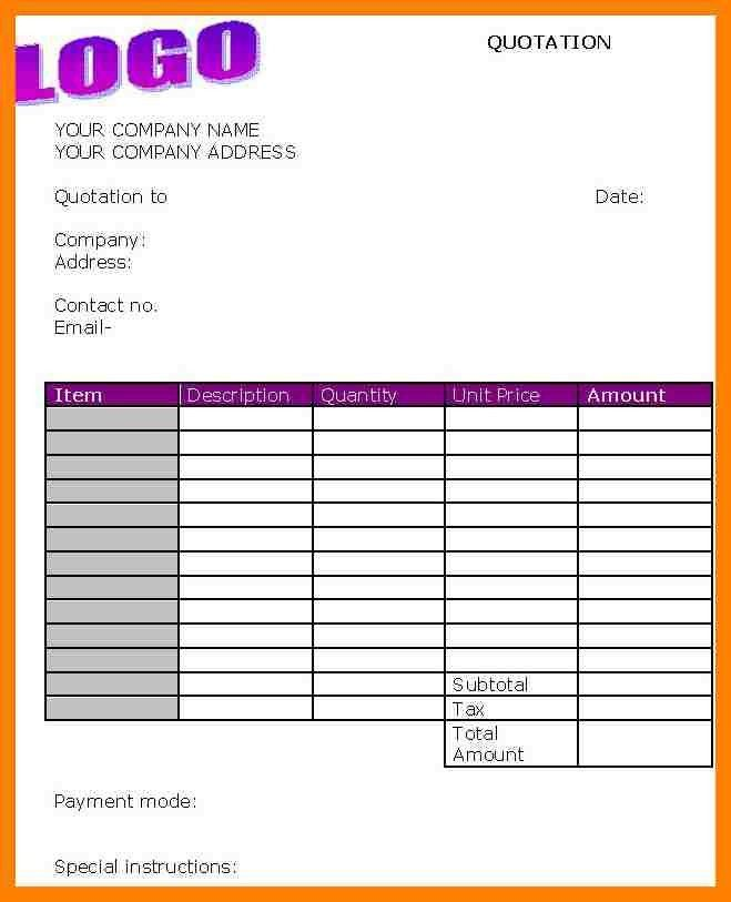 Business Quotation Sample Price Quotation Format Template Sample - business quotation sample