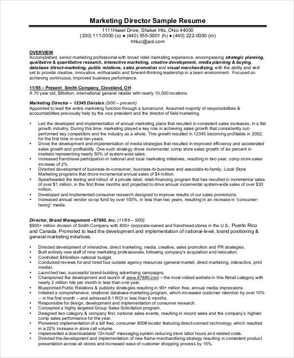 Marketing Director Resume Examples Marketing Manager Resume Free - marketing manager resume