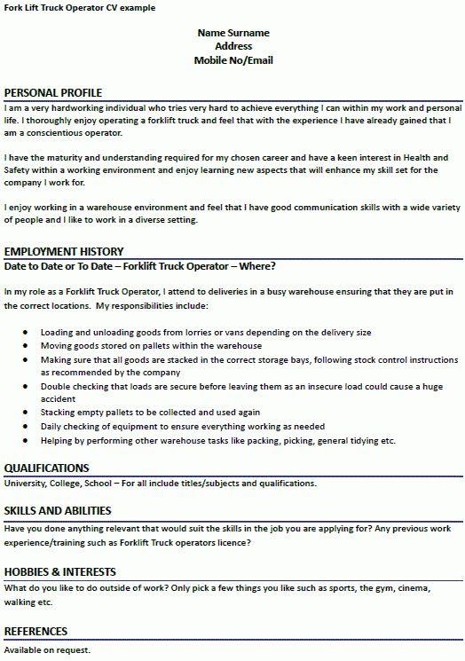Forklift Operator Job Description Unforgettable Forklift Operator - forklift resume samples