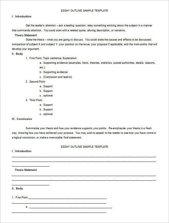 format for essay outline