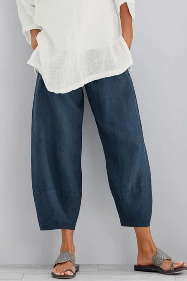 Solid Casual Linen Side Pockets Pants - shopingnova