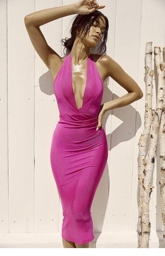 Amazing pink V-neck dress