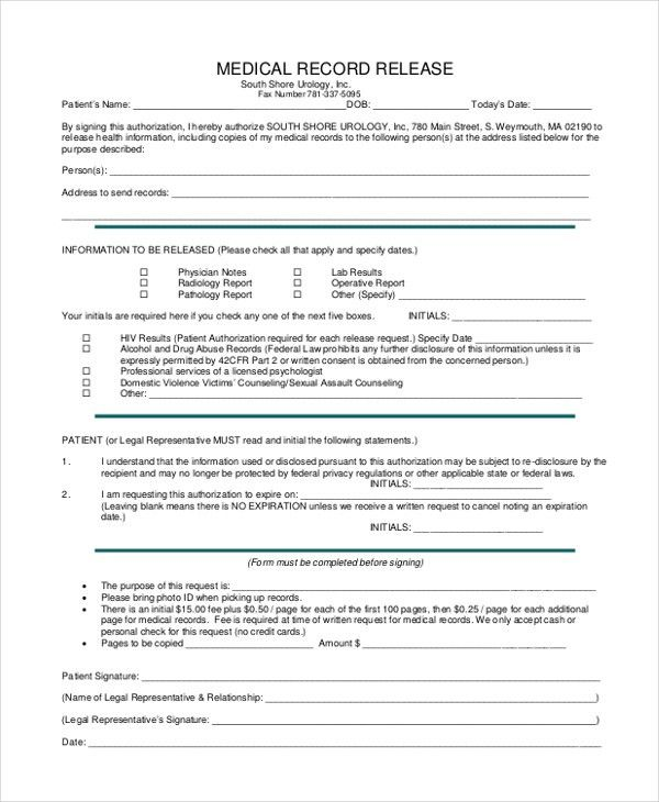 Medical Record Release Form Template  NodeCvresume