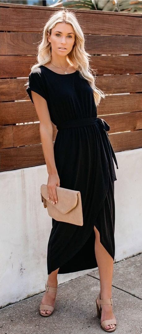 black boat-neck cap-sleeved dress #spring #outfits