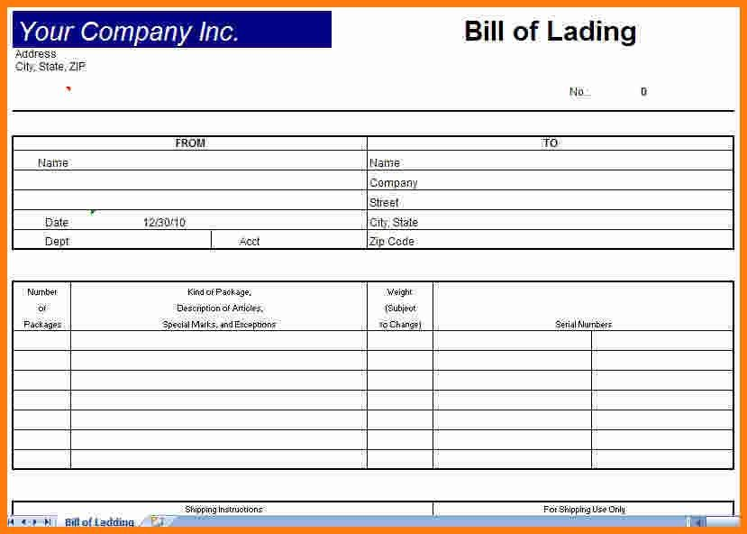 Blank Bill Of Lading Template Bill Of Lading Template Form Pdf - bill of lading form