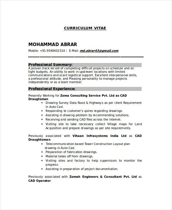 Drafting Resume Examples Professional Autocad Drafter Templates
