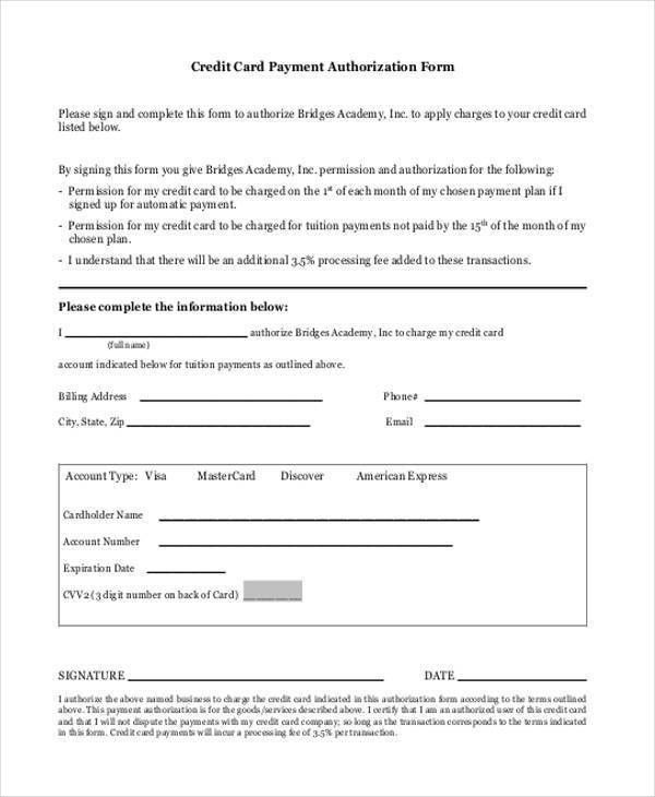 Free Credit Card Authorization Form Authorization For Credit Card - credit card form