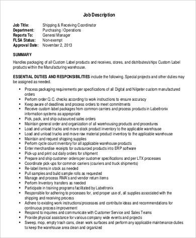 Fantastic Shipping And Receiving Manager Job Description For Resume