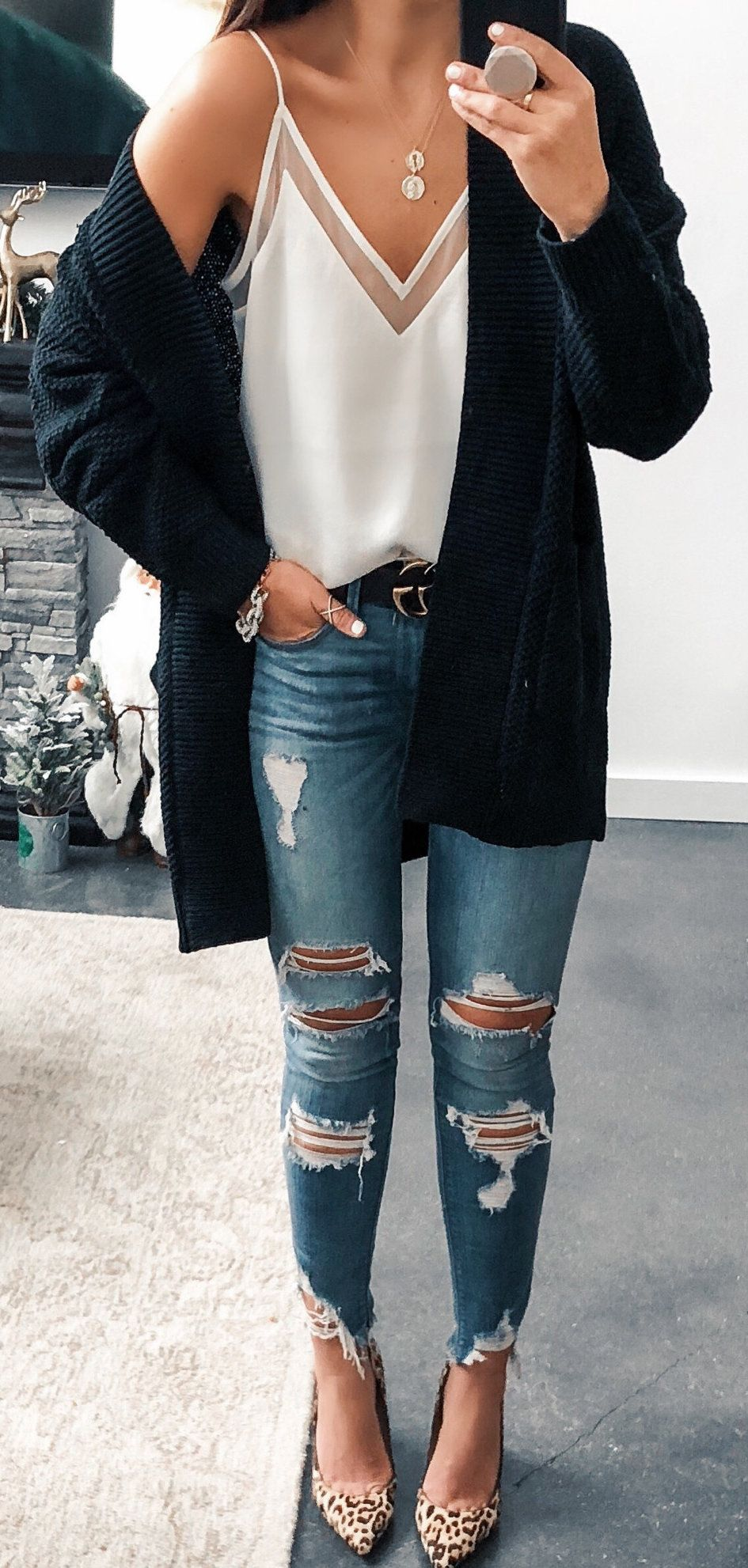 black cardigan #spring #outfits