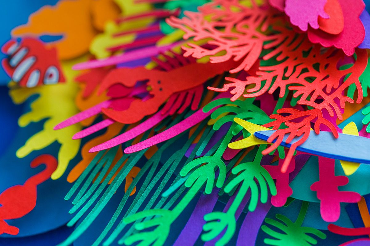Colorful Layered Paper Cut Poster Depicting Ocean Pollution by Aline Houdé-Diebolt | strictlypaper