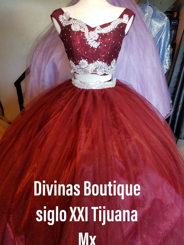 Vestido Xv Años Guinda Con Plata Plaza Siglo Xxi Tijuana
