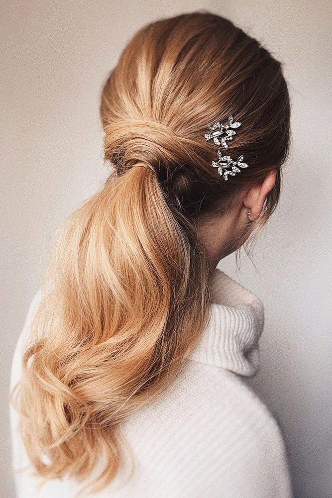 72 Best Wedding Hairstyles For Long Hair 2020 ❤ wedding hairstyles for long hair classic blonde ponytail with crystals pins bridal_hairstylist #weddingforward #wedding #bride #weddinghairstylesforlonghair