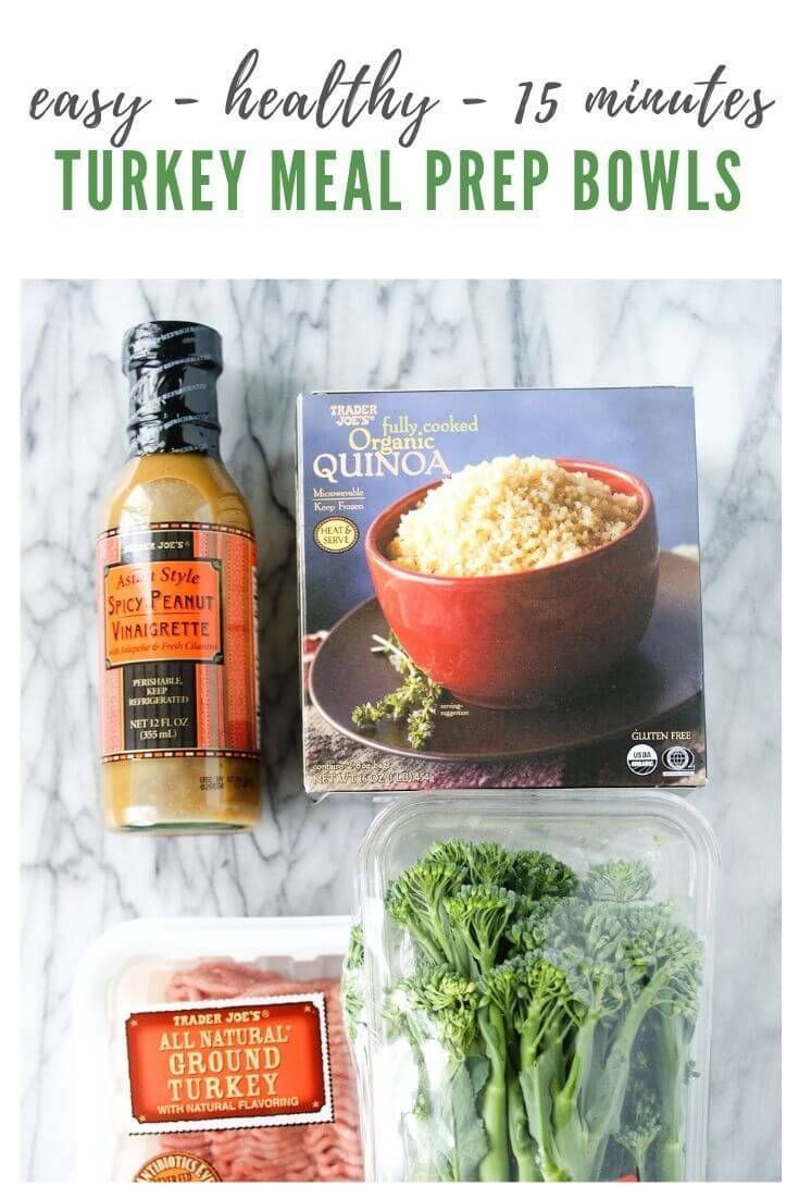 Trader Joe's Ground Turkey Meal Prep Bowl Recipe | Looking for some trader joe's meal prep ideas? This ground turkey meal prep bowl recipe is so EASY + HEALTHY and takes just 15 minutes to make! #myeverydaytable #traderjoes #mealprep #groundturkey