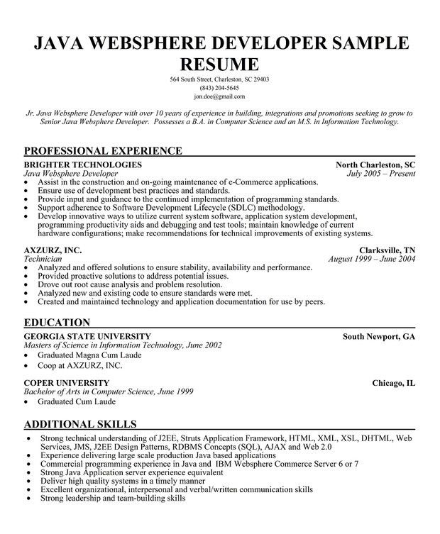 Java Resume Example Java Developer Resume Sample Vibrant