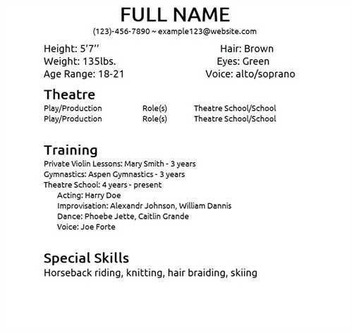 Resume Templates For Actors 10 Acting Resume Templates Free - musician resume examples