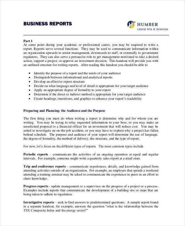 32+ Report Formats | Free U0026 Premium Templates  Formal Business Report Example