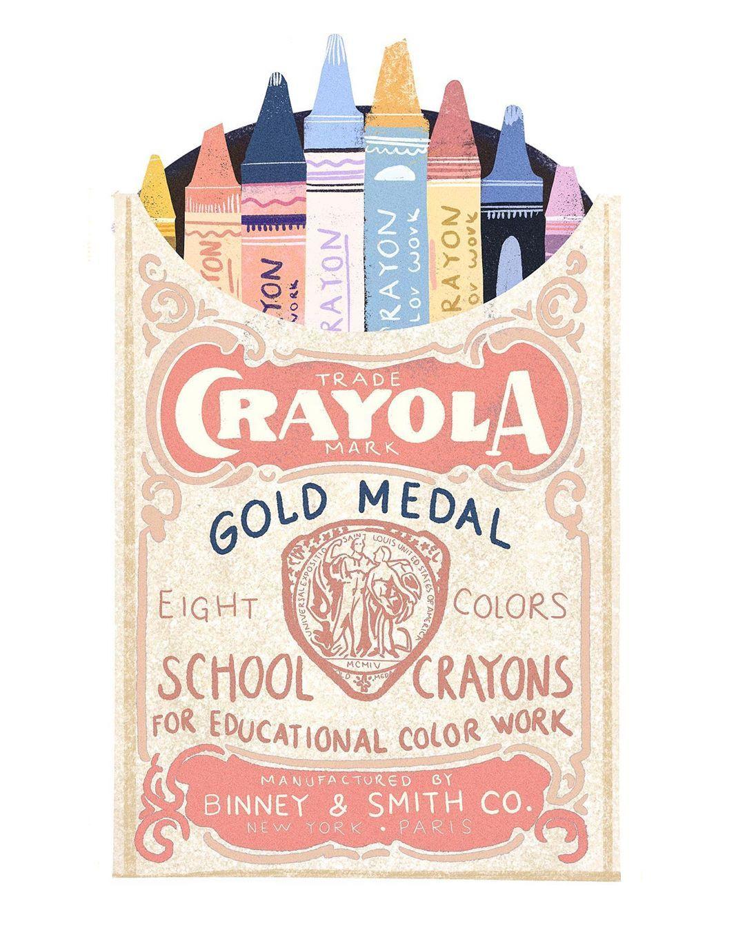 """E l i z a M o r e n o on Instagram: """"Hoy estuve tratando de dibujar algo que me hiciera muy feliz 🙆🏻♂️✨ y salió esto :) inspirado en el embalaje antiguo de #crayola :) 🖌🖌 . .…"""""""