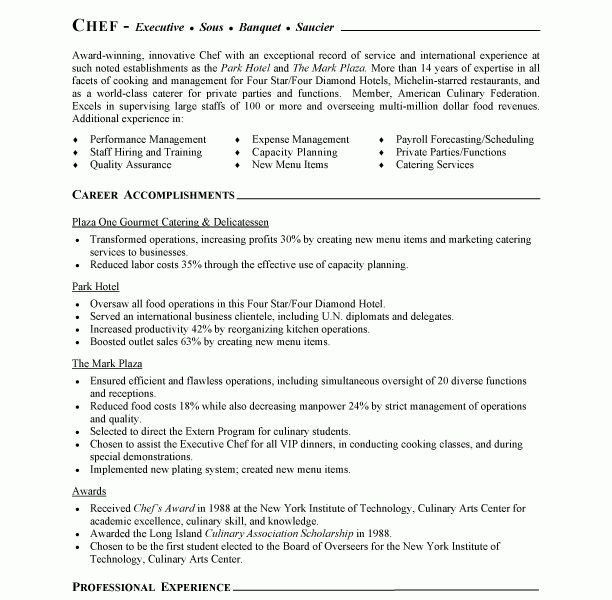 Catering Chef Sample Resume Resume Example, Sous Chef Resume - catering chef sample resume