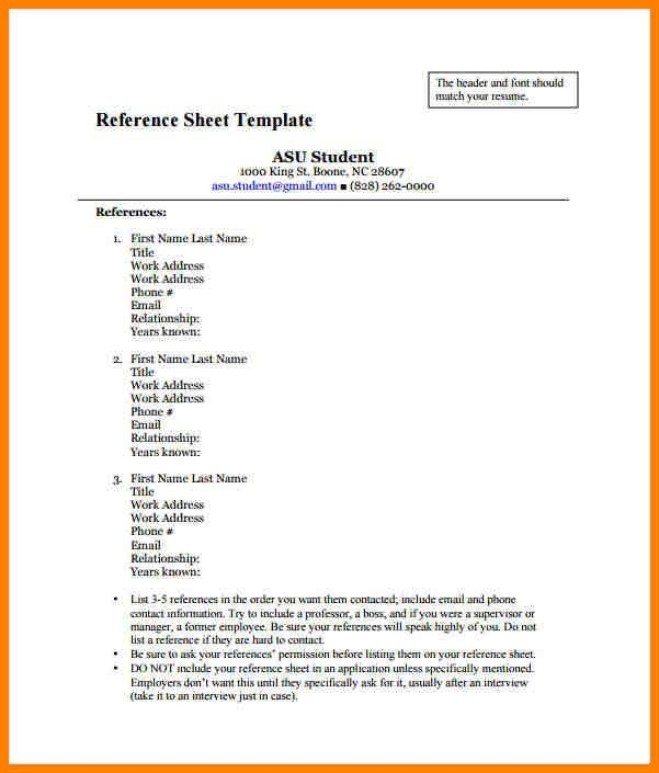 Reference Page Sample Resume Resume Template References Page - resume reference page template