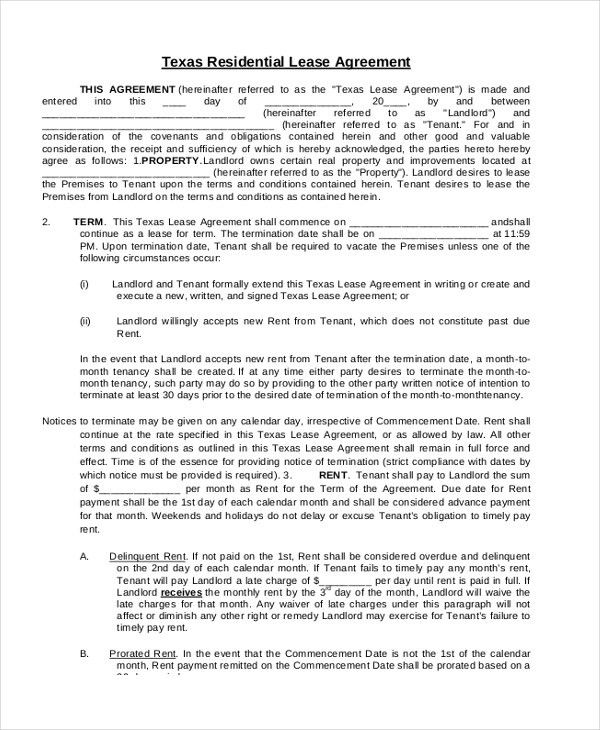 sample lease agreement form – Sample Texas Lease Agreement