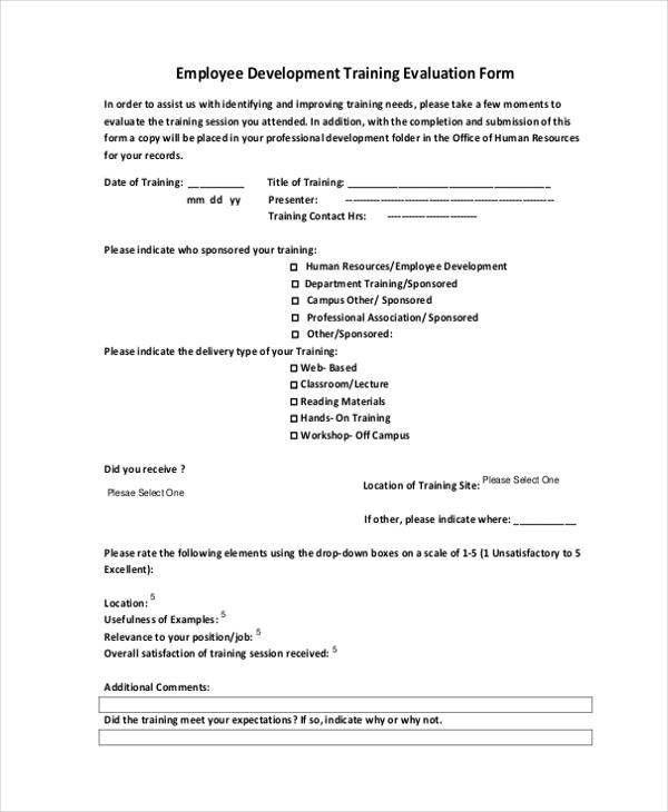 hr evaluation form – On the Job Training Evaluation Form