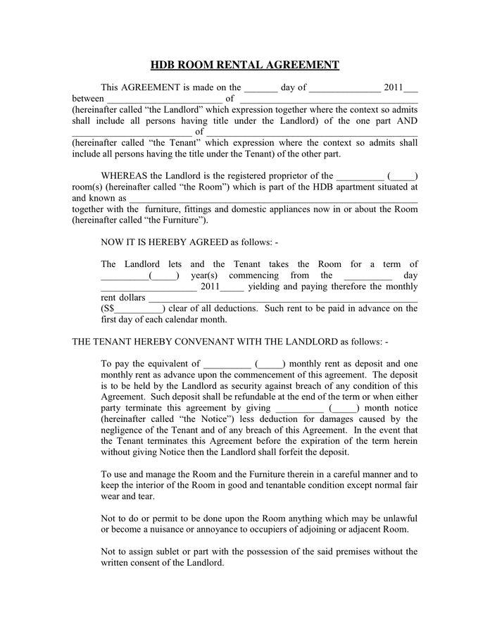 Room Rental Contract Sample Printable Sample Free Printable - printable lease agreement sample