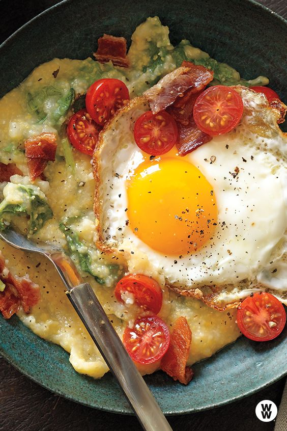 Cheese grits with greens and eggs: The classic combo of cheese grits and eggs gets a healthy boost when you add kale to the slow cooker toward the end of the cooking time. This recipe works beautifully overnight, so you wake up to the smell of a southern breakfast, nearly ready.