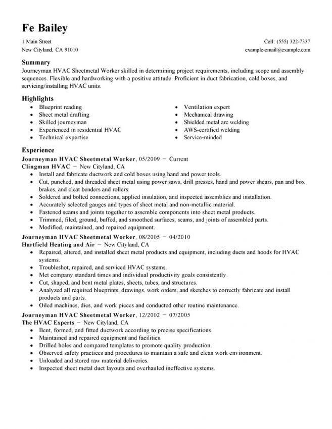 Hvac Sample Resume. 11 Hvac Resume Templates Skills Based Resume