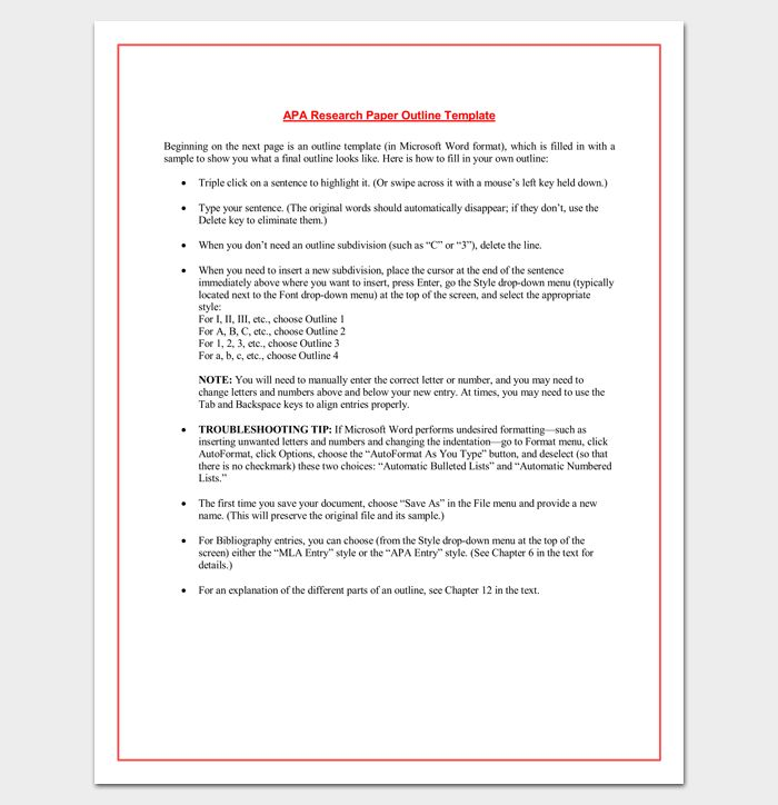 Apa Outline Example Sample Apa Outline Template 8free Documents - mla outline template