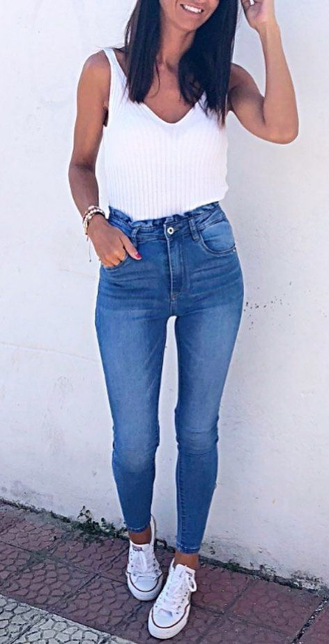 white tank top and blue denim pants #spring #outfits