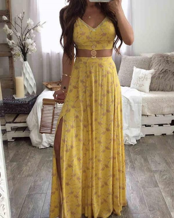 Floral Print Cami Top & Thigh Slit Skirt Sets * fashion, moda, women, beauty, buy, sale, shop, ebay, amazon, aliexpress, clothes, dress, cute dresses, beautiful dresses, pretty dresses, cute dresses outfits