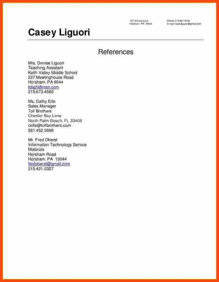 References For A Resume Format Template For A Reference Letter - resume reference page template