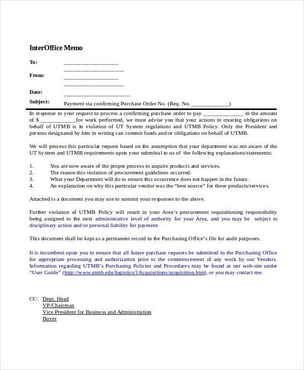 Example Of An Interoffice Memo Interoffice Memo Templates 20 Free - disciplinary memo template