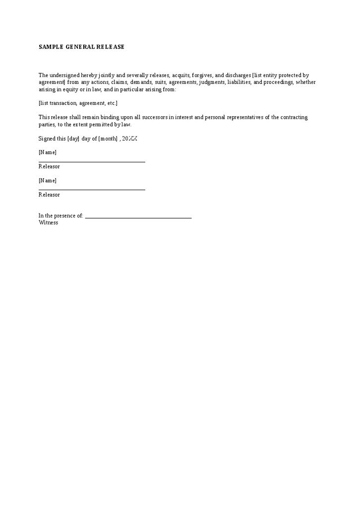 general release forms hitecauto - release agreement
