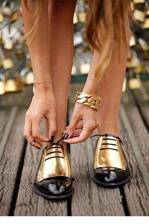 Gold oxfords and bracelet