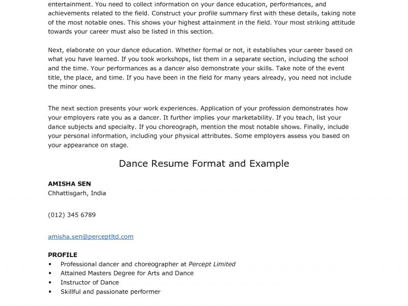 samples visualcv resume professional dance resume actor - Dance Resume Format