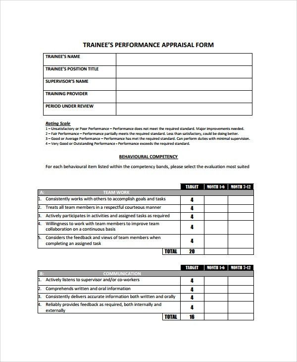 Appraisal Sheet 8 Hr Appraisal Forms Hr Templates Free Premium - monthly performance review template