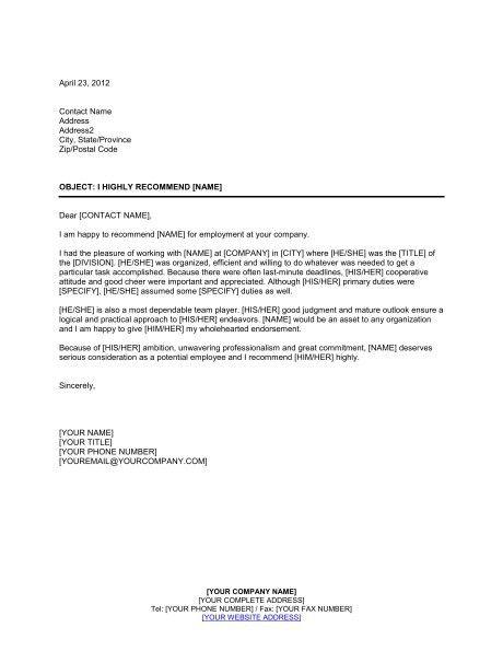 Reference Letter Sample For Employment Sample Recommendation - employment reference letter sample