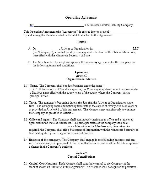 Operating Agreement Template Llc Operating Agreement Sample - agreement templates
