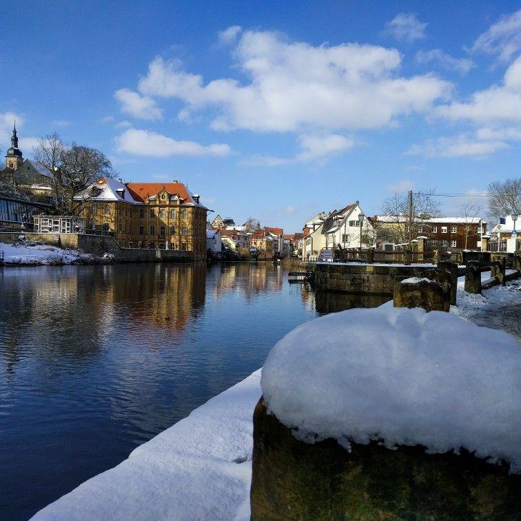 Bamberg im Winter Schleuse 100 und Villa Concordia