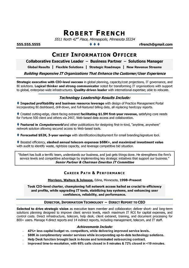 Cio Resume Example Cio Sample Resume Chief Information Officer