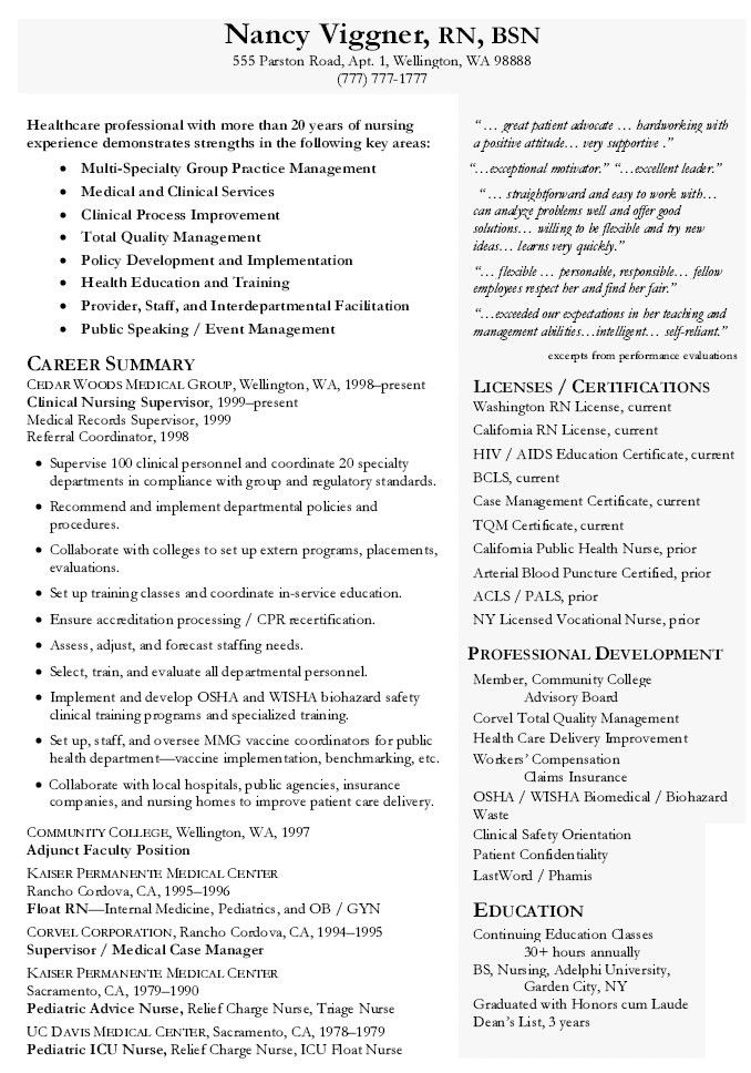 Nurse Manager Resume Examples - Examples of Resumes