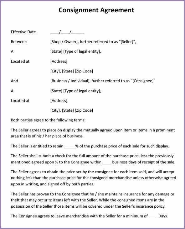 Sample Of Consignment Agreement Consignment Contract Template 4 - consignment form template