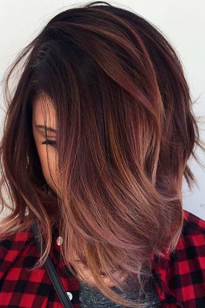 Chocolate Mauve Color #ombrehair #layeredhair ★ Light and dark brown hair with highlights and lowlights looks spectacular. Discover trendy color ideas for short and long hairstyles. #glaminati #lifestyle #brownhairwithhighlights