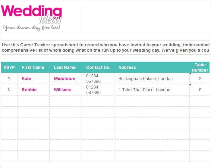 7 free wedding guest list templates and managers college graduate - invite list template