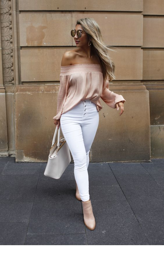 Amazing beige blouse with white pants