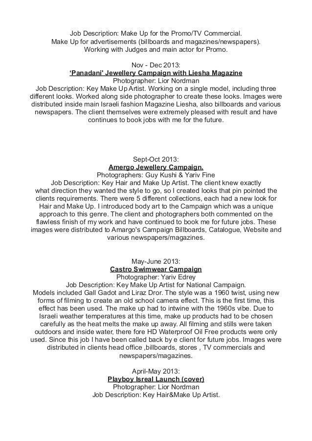 Fashion Model Job Description Cover Letter Models Sample Fashion - photographer job description