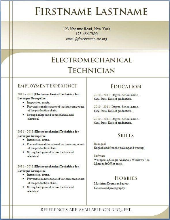 Free Resume Templates Word 2010 Resume Format Free Download In Ms - free resume templates for word 2010