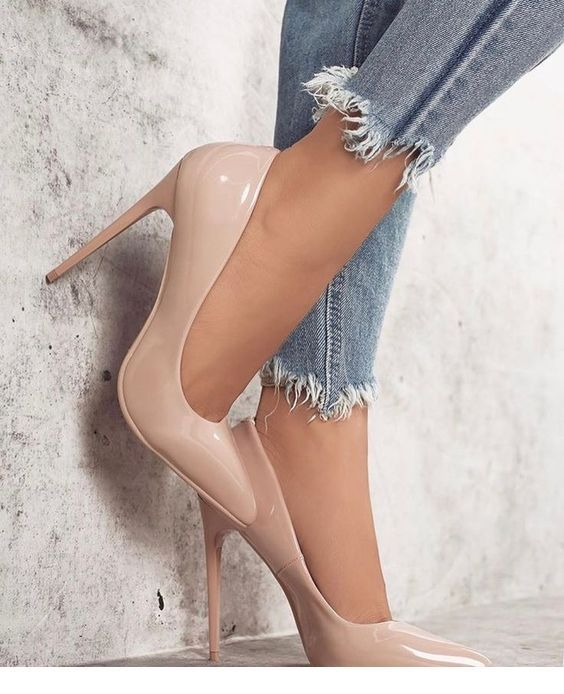 Beige pumps design