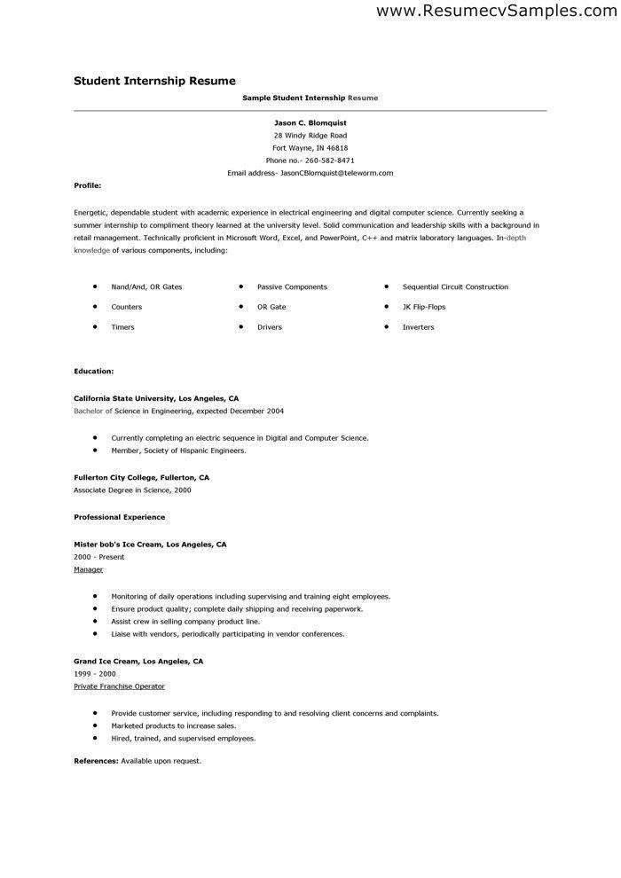 College Internship Resume Template Example